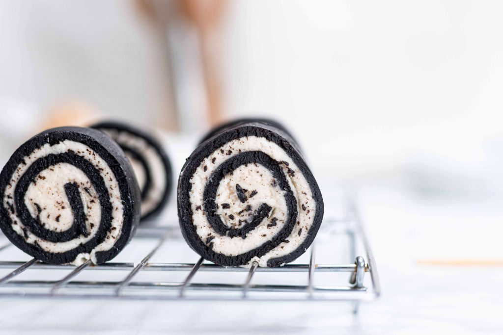 Oreo Sushi Rolls on a cooling rack