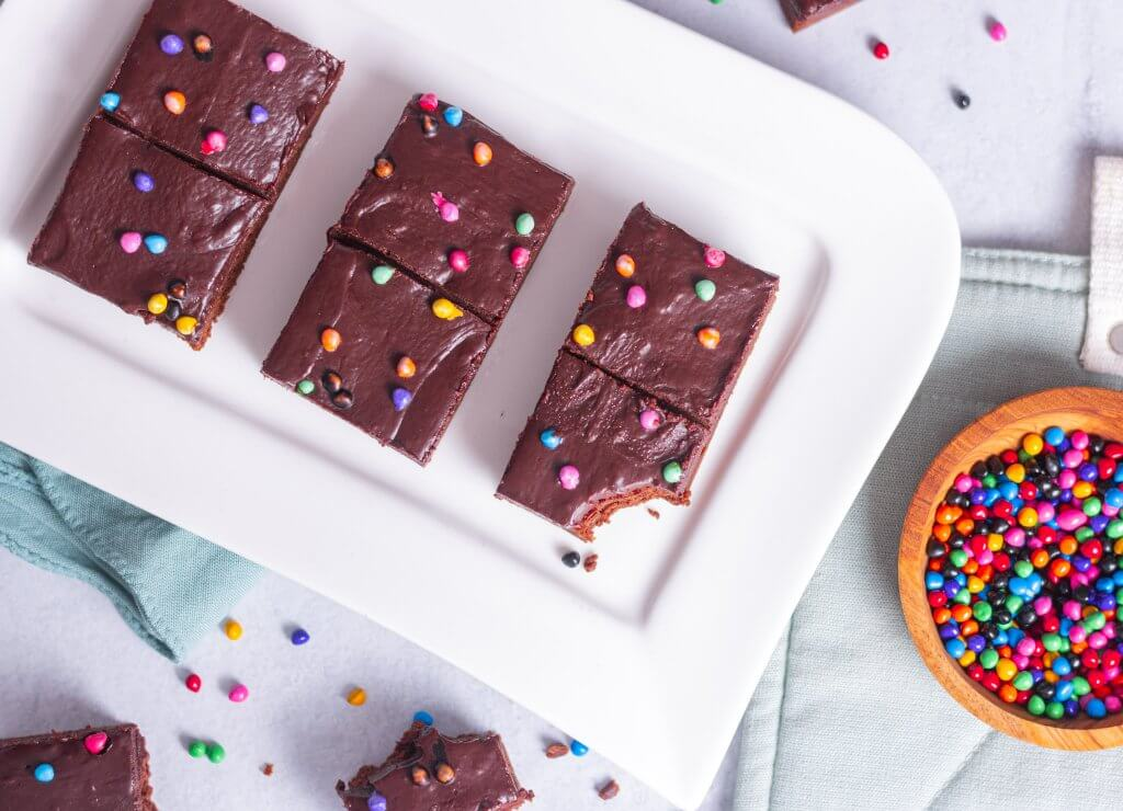 homemade cosmic brownies on a plate